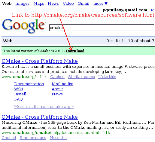 Mockup of Google showing the latest version of CMake in the results page